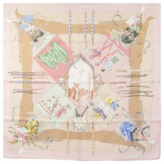 auth HERMES pink FETES VENITIENNES 90 silk twill Scarf