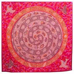 auth HERMES pink LA LEGENDE DU POSSON CORAIL 140 cashmere silk Scarf