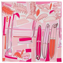 auth HERMES pink SEA SURF & FUN 45 silk twill Scarf Blanc Rose Corail