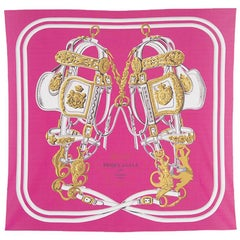 auth HERMES pink white BRIDES DE GALA 90 FLUID silk jersey Scarf