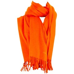 auth HERMES pumpkin orange cashmere JOHNSTON Shawl Stole Scarf