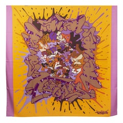 auth HERMES purple orange Graff Hermes 140 cashmere silk Shawl Scarf