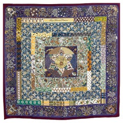 auth HERMES purple PIQUE FLEURI DE PROVENCE 90 silk twill Scarf