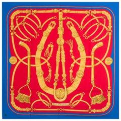 auth HERMES red blue GAUCHO 90 silk twill Scarf