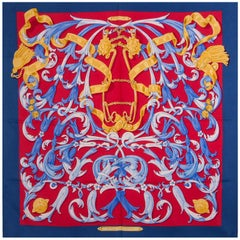 auth HERMES red blue LE MORS A LA CONETABLE 90 silk twill Scarf