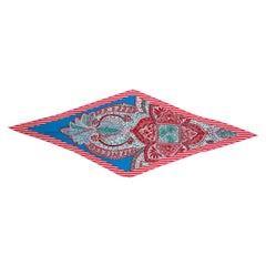 auth HERMES red cashmere & silk JARDIN DE LA MAHARANI MED LOSANGE Scarf