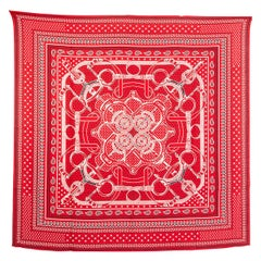 auth HERMES red EPERON d'OR 140 cashmere silk Shawl Scarf