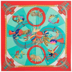 auth HERMES red green CIRCUS 90 silk twill Scarf