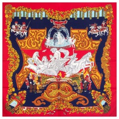 auth HERMES red LE PARADIS DU ROY 90 silk twill Scarf