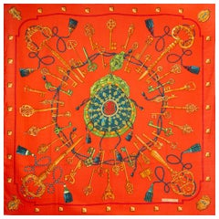 auth HERMES red LES CLES 140 cashmere silk Shawl Scarf