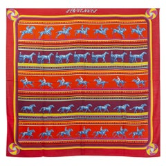 auth HERMES red SEQUENCES 140 cashmere silk Shawl Scarf