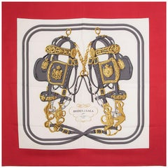 auth HERMES red white BRIDES DE GALA 90 silk twill Scarf