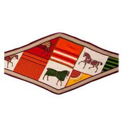 auth HERMES taupe orange cashmere & silk COUVERTURES NOUVELLES LOSANGE Scarf