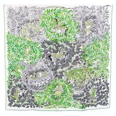 auth HERMES white green LA PROMENADE DE PLATON 90 silk twill Scarf