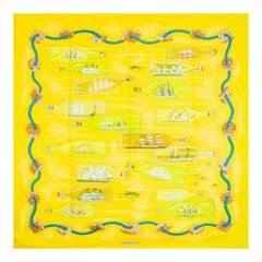 auth HERMES yellow BOUTEILLES A LA MER 90 silk Scarf