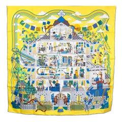 auth HERMES yellow LA MAISON DES CARRES 90 silk twill Scarf