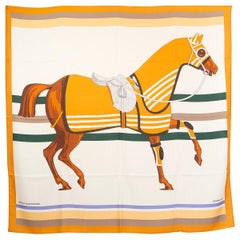 auth HERMES yellow white CHEVAL A LA COUVERTURE 140 cashmere silk Shawl Scarf