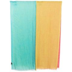 auth LORO PIANA multicolored STRIPED cashmere & silk Shawl Scarf