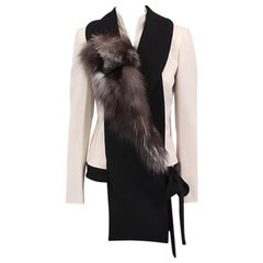 auth MIU MIU black wool FUR DETAILED RUNWAY Shawl Vest Top