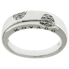 Auth Movado 18 Karat White Gold Diamonds Band Ring