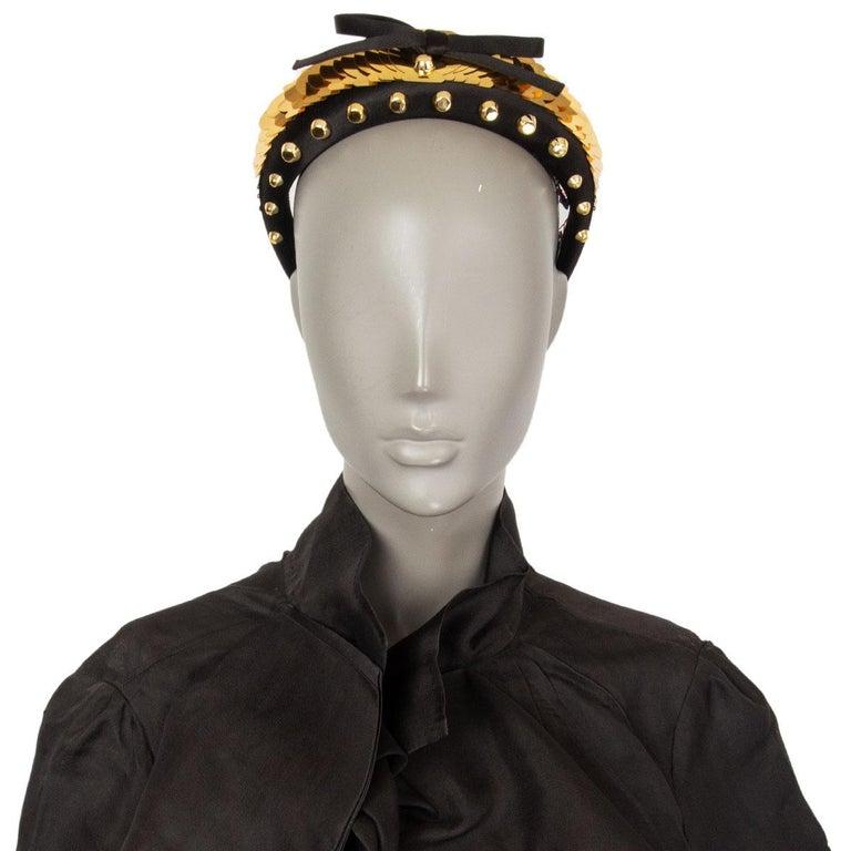 Women's or Men's auth PRADA black & gold SATIN EMBELLISHED STUDDED Headband For Sale