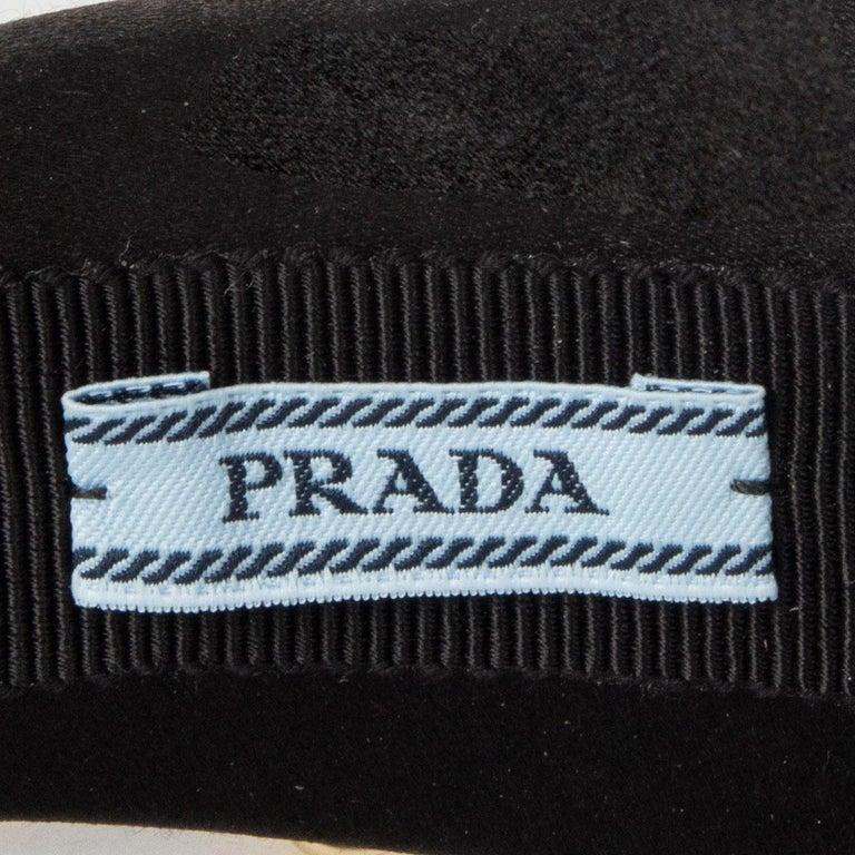 auth PRADA black & gold SATIN EMBELLISHED STUDDED Headband For Sale 1
