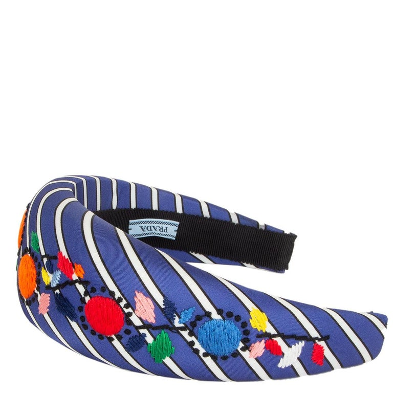 Blue auth PRADA blue Striped Satin FLORAL EMBROIDERED Headband For Sale
