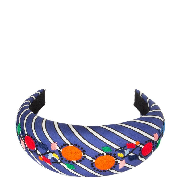 auth PRADA blue Striped Satin FLORAL EMBROIDERED Headband In Excellent Condition For Sale In Zürich, CH