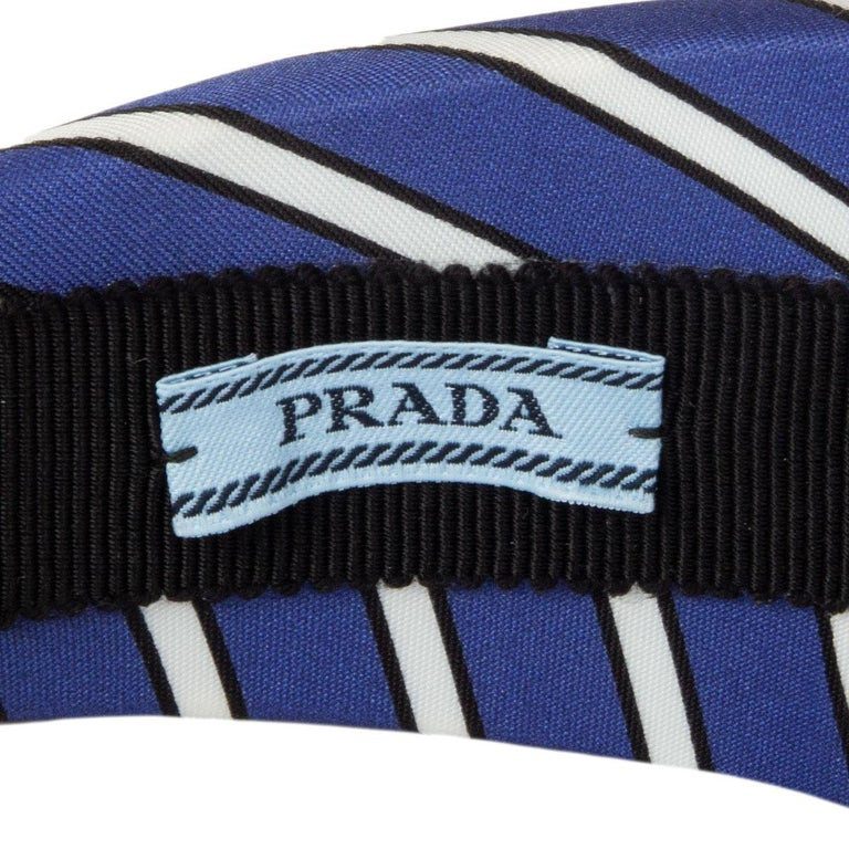 Women's or Men's auth PRADA blue Striped Satin FLORAL EMBROIDERED Headband For Sale