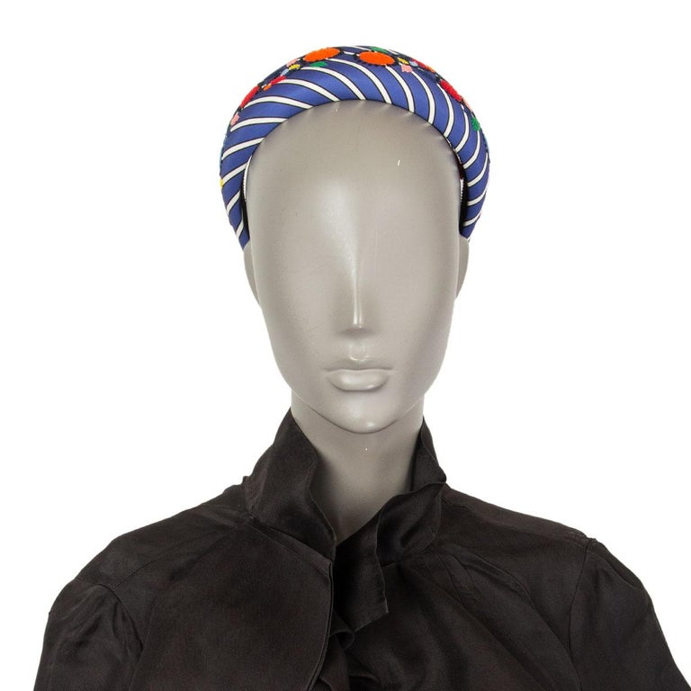 auth PRADA blue Striped Satin FLORAL EMBROIDERED Headband For Sale 1