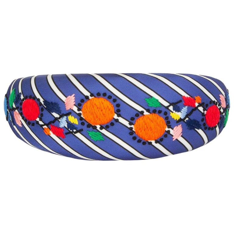 auth PRADA blue Striped Satin FLORAL EMBROIDERED Headband For Sale