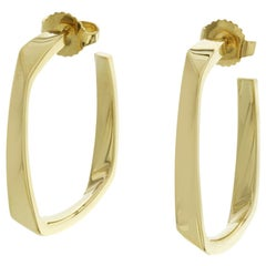 Auth Tiffany & Co 18 Karat Yellow Gold Frank Gehry Square Torque Large Earrings