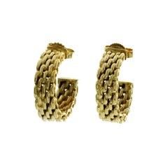 Auth Tiffany & Co, 18 Karat Yellow Gold Mesh Hoop Earrings