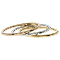 Auth Tiffany & Co. 18 Karat Yellow Gold Set of Trio Bangle Bracelet, Italy