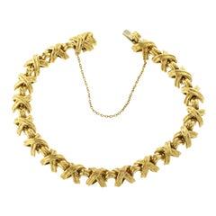 Auth Tiffany & Co. 18 Karat Yellow Gold Signature X Link Bracelet
