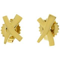 Auth Tiffany & Co. 18 Karat Yellow Gold X Earrings