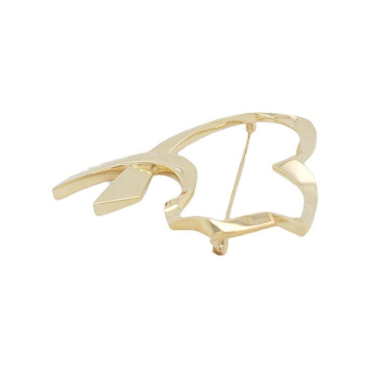 Auth Tiffany & Co. 18K Yellow Gold  Paloma Picasso Open Cat Heart Pin / Brooch For Sale 1