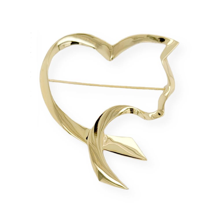 Auth Tiffany & Co. 18K Yellow Gold  Paloma Picasso Open Cat Heart Pin / Brooch For Sale 2