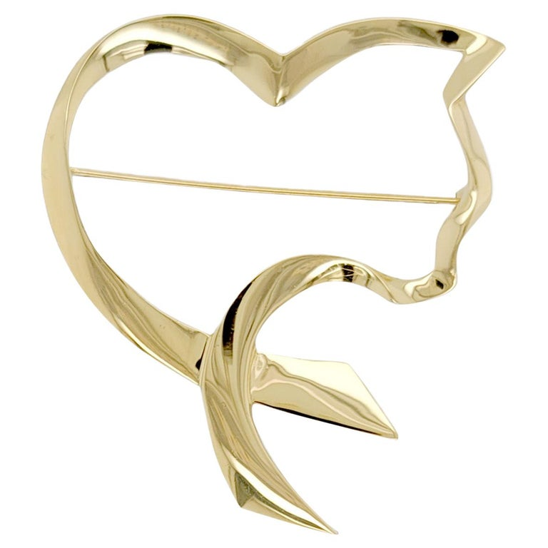 Auth Tiffany & Co. 18K Yellow Gold  Paloma Picasso Open Cat Heart Pin / Brooch For Sale