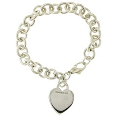 Auth Tiffany & Co. 925 Sterling Silver Heart Tag Charm Bracelet