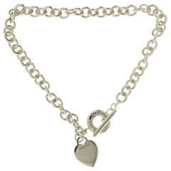 Auth Tiffany & Co. 925 Sterling Silver Heart Tag Link Necklace