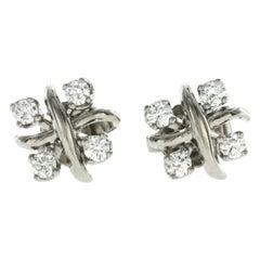 Auth Tiffany & Co. 950 Platinum Diamond Schlumberger Lynn X Earrings