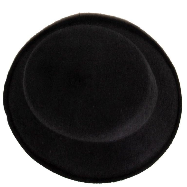 Women's or Men's auth YOHJI YAMAMOTO black RABBIT FUR Hat 58 For Sale