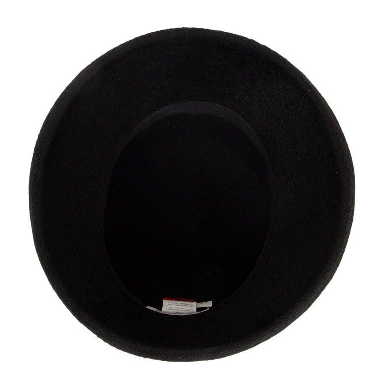 auth YOHJI YAMAMOTO black RABBIT FUR Hat 58 For Sale 1