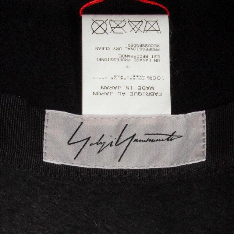 auth YOHJI YAMAMOTO black RABBIT FUR Hat 58 For Sale 2