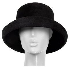 auth YOHJI YAMAMOTO black RABBIT FUR Hat 58