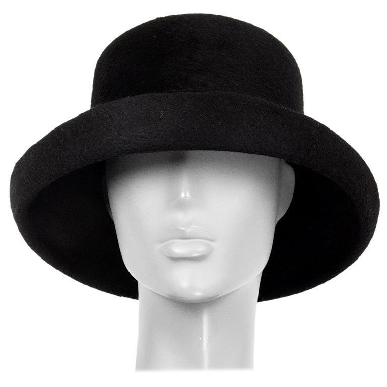 auth YOHJI YAMAMOTO black RABBIT FUR Hat 58 For Sale