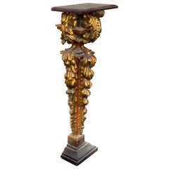 Authentic 18th Century Italian Carved Wood Wall Console