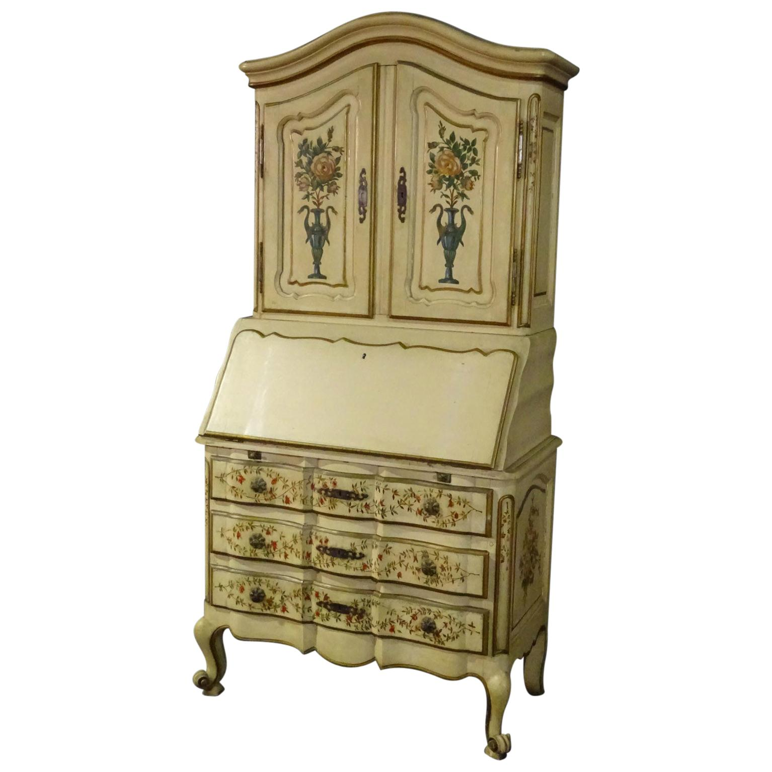 Authentic 19th Century Paint Decorated French Louis XV Provincial Secretary Desk