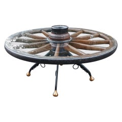 Authentic 19th Century Wagon Wheel Glass Top Coffee Table